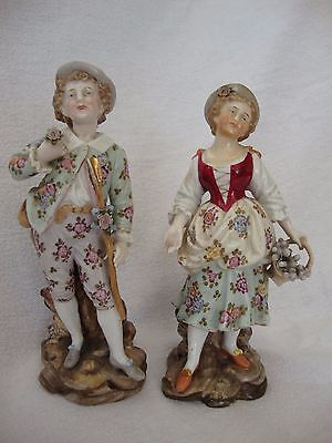 PAIR ANTIQUE 19th C DRESDEN PORCELAIN FIGURES IN FLORAL CLOTHES MAN WITH STAFF