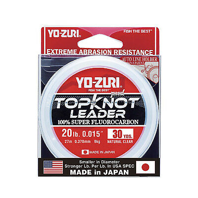 Yo-Zuri TopKnot - Pure Fluorocarbon Leader Material -30yrds- Choose Colour/Size