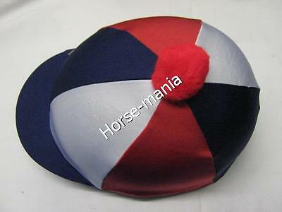 Red White Blue Riding Hat Silk Cover For Jockey Skull Caps One Size