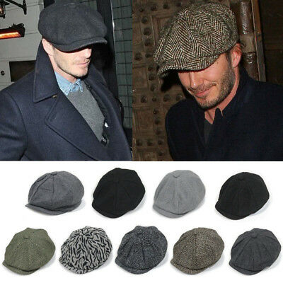 Adults Tweed Herringbone Newsboy Bakerboy Hat Beret Gatsby Peaky Blinders Summer