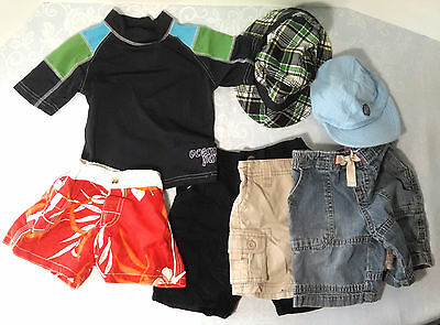 Boys 24 Months 2T Summer Clothes Lot shorts swim trunks Harley Davidson hat