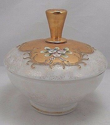 1940s WWII US Zone Germany Cased Glass Covered Dish Heavy Gold & Applied Flower
