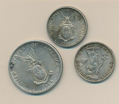 Philippines Silver Wwii (3 Coins)