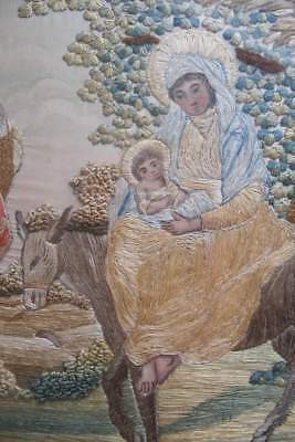 Antique Regency era silk embroidery dated 1811, Holy Family