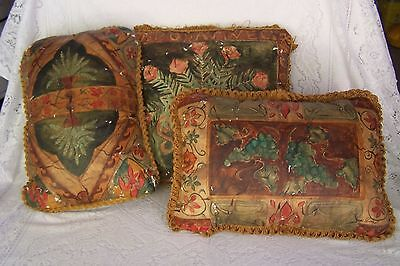 Vintage Set of Hand Painted Throw Pillows OMG!
