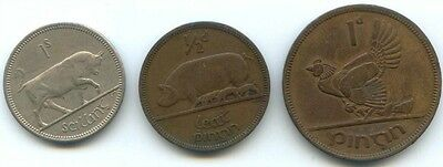 Ireland ~ One Shilling, Half Penny & One Penny ( 1963, 1937 & 1942)