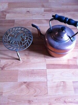 Old Copper Kettle And Brass Trivet