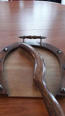 Vintage horse shoe shape Wooden crumb tray and brush....