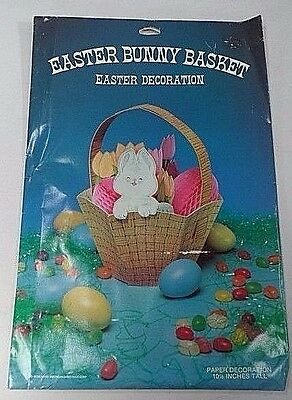 1984 American Greetings Easter Bunny Basket Honeycomb Tissue Paper Centerpiece