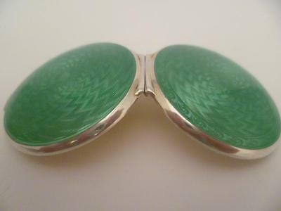 Double Sided Apple Green Guilloche Enamel Solid Silver Compact  Dated C 1920