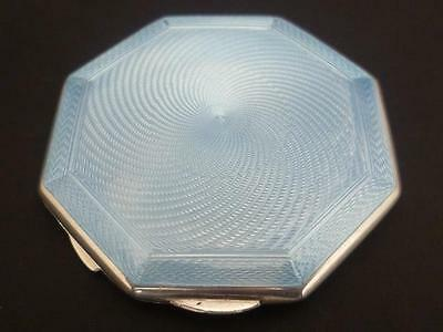 Art Deco Quality Silver & Guilloche Baby Blue Enamel Compact H/marked Dated 1941