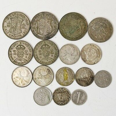 Lot of 16 Mixed Forgeign Silver Coins - 119.4 grams Crown Pence Centavos