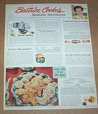1951 print ad - Beatrice Foods mealtime adventures Meadow Gold cookies recipe AD