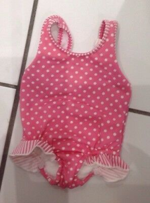 3-6 months Marks & Spencers baby girls pink spotty swimsuit with built in nappy