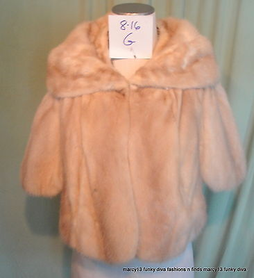 Chic Vintage 50's 60's Whitner's Blond Champagne Real Mink Fur Petal Stole Cape