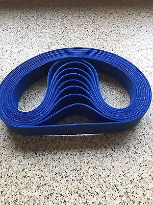 "3 X Blue Felt Sanding Belts 2""x 72"" Made In Birmingham U.K."