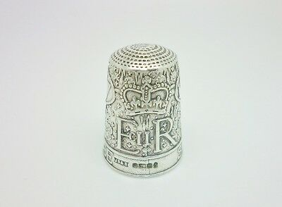 Vintage 1977 QEII Queens Silver Jubilee Solid Sterling Silver Round Thimble