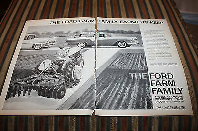 Vintage 1957 Ford Farm Family Ad Truck Car Tractor Implement 900 Lincoln Landau