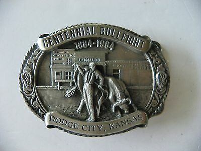 1984 Centennial Bullfight Dodge City, Kansas Pewter Belt Buckle