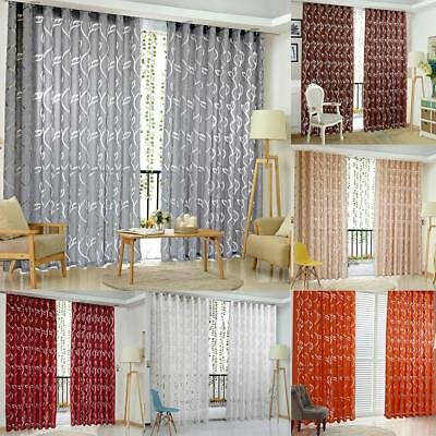 Door Window Curtain Floral Tulle Voile Drape Panel Sheer Scarf Valances Divider