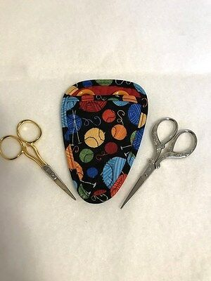Handmade Balls of Yarn Quilted fabric embroidery needlework scissor holder