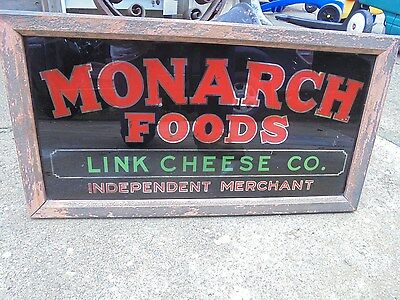 Vintage Reverse Painted on Glass Sign Monarch Foods Link Cheese Co.