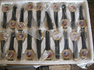 Lot of 10 Novelty Watches leather strap politics humor vintage Bill Clinton liar