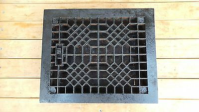 Antique VICTORIAN Cast Iron Floor Grille 12x9 Heat Grate Register + Louvers