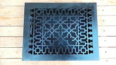 Antique VICTORIAN Cast Iron Floor Grille 14x11 Heat Grate Register + Louvers