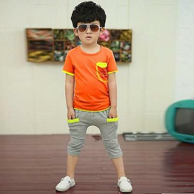 Baby Boy Infant Toddler Kids T-shirt Top+Pants Trousers Clothes Outfits Set 140