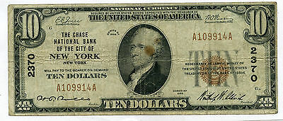 1929 $10 Chase National Bank The City Of New York National Currency VG # 2370