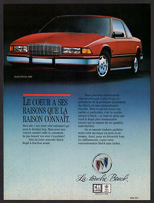 1988 BUICK Regal Vintage Original Print AD - Red car photo french ad print in 87