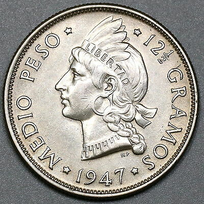 1947 Dominican Republic Silver Medio Peso AU Key Date Coin (17071501R)