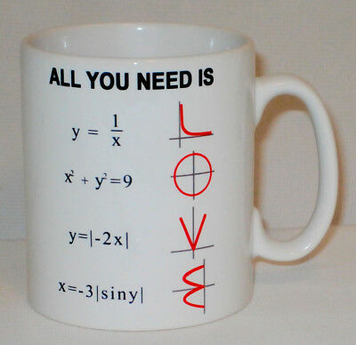 All You Need Is Love Maths Equation Mug Can PERSONALISE Math Teacher Student Cup