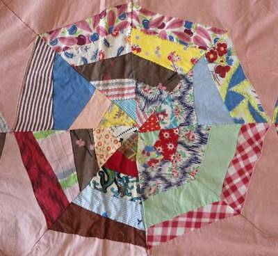 Vintage 40s Quilt Top Hand Stitched Cotton Feedsack Stars Plates Red