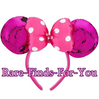 "Disney Parks ""Minnie Mouse"" Pink Sequin Ear Polka-Dot Bow Headband Cap/Hat (NEW)"