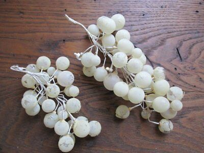 2 FABULOUS Old Victorian GLASS Clusters of GRAPES Rare Creamy WHITE