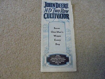Vintage 1933 John Deere ND Two-Row Cultivator Brochure Horse Machinery Equipment