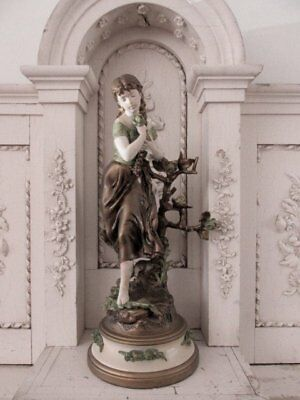 EXQUISITE Old Vintage FRENCH STATUE WOMAN  ROSES Metal Spelter Moreau