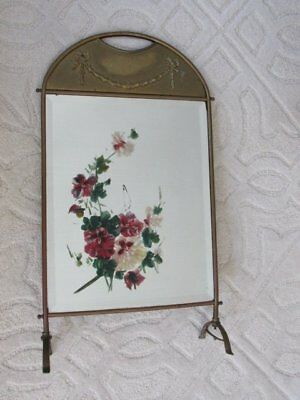 OMG OLD FRENCH FIREPLACE SCREEN MIRROR Painting PANSIES Garland of Flowers