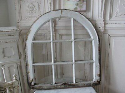 OMG OLD Architectural WINDOW ARCHED with 9 Panes CHIPPY WHITE OR PINK
