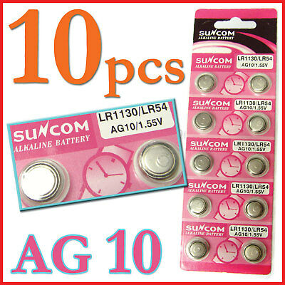 10 AG10 SG10 LR1130 54 Alkaline Button Cell Battery Sun