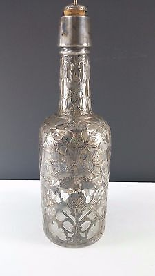 Antique Black, Starr & Frost Antique Elaborate Sterling Silver Overlay Decanter