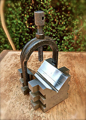 Vintage BROWN & SHARPE Machinist V-block with Clamp Cat. No. 750 B No. 28