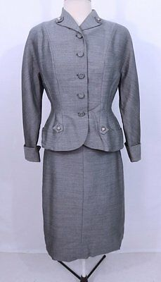 Vintage 1940s 40s Rhinestone Accent Gray Swingtime Wasp Blazer Skirt Suit M