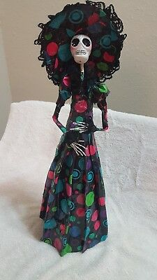 """Catrina Day Of The Dead Handcrafted Dia De Los Muertos Papel Mache Doll 14"""" Tall"""