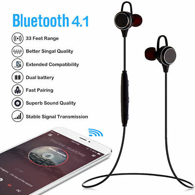 Slim Wireless Bluetooth 4.1 Headphones Lightweight Stereo Earbuds Sweatproof  US