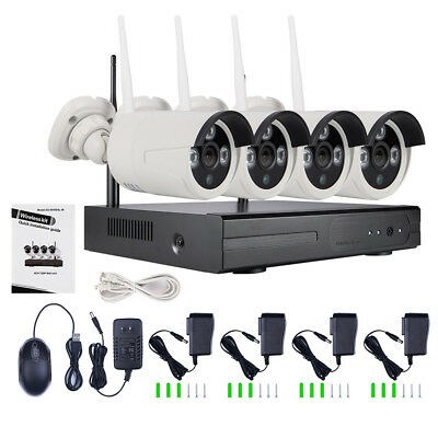 Wireless 4CH Wi-Fi Indoor/Outdoor IR Cameras 720P NVR DVR CCTV Security System