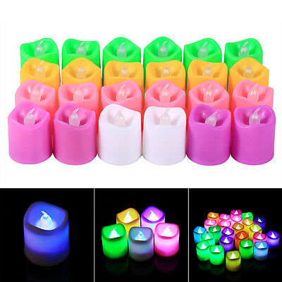 24PCS Votive Flickering Bougie Battery Electric LED Party Lights Lamp Smokeless