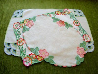 Vintage Tray Cloths - Hand Embroidered - Linen - Coll. Of 3